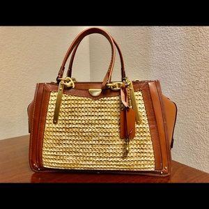 New!! Coach straw and leather satchel w strap